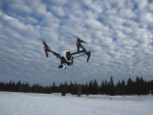 DJI T600 Inspire 1 flying in snow
