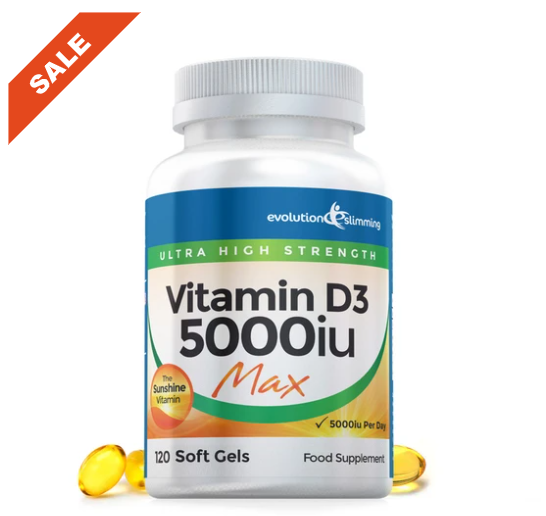 Vitamin D D3 5000iu Max Strength Soft Gel Capsules from Evolution Slimming