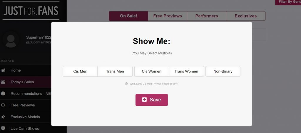 Choosing gender on justfor dot fans
